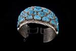 "Navajo Bracelet, three rows of ""Kingman"" turquoise"