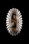 Navajo Oblong Inlay Ring with Picture, jasper tiger's eye and black jet