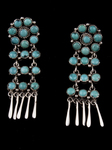 Zuni Dangle Earrings, snake-eye turquois
