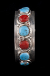 Zuni Men's Bracelet, turquoise and coral