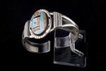 Navajo Inlay Bracelet, turquoise, jasper and jet