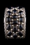 Navajo Bracelet, three rows, oval black onyx