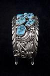 """Navajo Men's Bracelet, six """"Kingman"""" turquoise"""