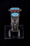 Navajo Men's Bracelet, turquoise and red coral