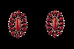 Zuni Post Earrings, coral
