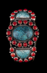 Navajo Bracelet, turquoise and coral
