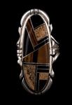 Navajo Inlay Oblong Ring, jasper tiger's eye and jet