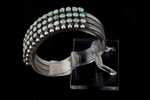 Zuni Bracelet, three rows, snake-eye turquoise