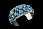 "Navajo Men's Bracelet, two rows, ""kingman"" turquoise"