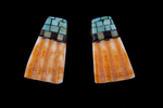 Santo Domingo Inlay Shell Earrings, turquoise jet and mother of jet?