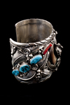 Navajo Men's Bracelet, blue turquoise and red coral, natural bear claws and cast bear