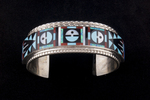 """Zuni Bracelet, """"3 God's eye"""", inlay of turquoise jet white, mother of pearl, red coral, blue lapis, denium opal"""