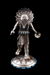 Sunface Sterling Silver Kachina with turquoise around Standing Navajo
