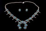 "Navajo Squash Blossom with Post Earrings, ""Kingman"" turquoise"