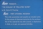 Ecology of Polluted Water presentation slides by Cal R. Fremling