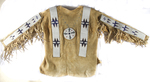 Blackfeet man's shirt. ca 1900, tanned deer hide, sinew sewn beadwork and painted hailstone design