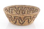 "California basketry bowl. ca. 1930s, 9"" diameter with a depth of 6 1/4"""