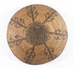 "Apache basket with design depicting corn? ca. 1920s. 15 1/4"" diameter"