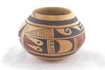 """Fannie Nampeyo. (Hopi-Tewa). small jar. ca. 1950-70. 3"""" x 4 3/8"""" painted pottery"""