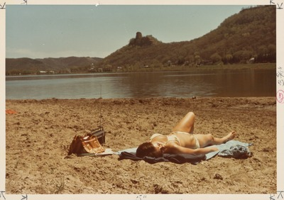 Relaxing on beach at Lake Winona