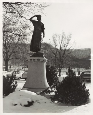 Wenonah Statue in Lake Park at Wintertime